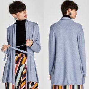 Zara Knit Drape Collar belted Sweater Sz L